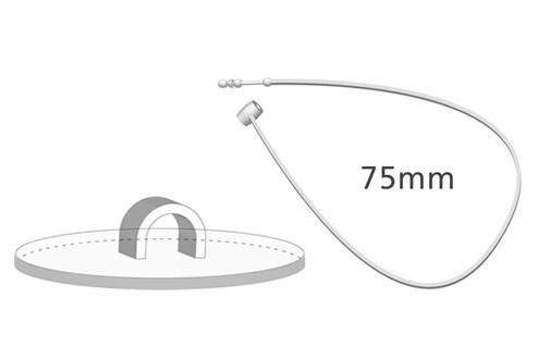 Klebehaken klar + Sicherheitsfaden, 75 mm