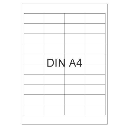 Etiketten, eckig, selbstklebend, auf DIN A4 Bogen