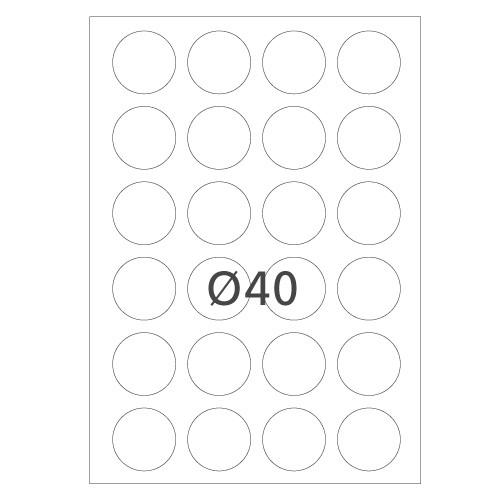 Etiketten, rund, selbstklebend, auf DIN A4 Bogen