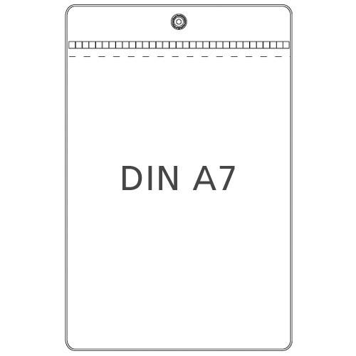 Preisschildhülle DIN A7 Hochformat mit Metallöse