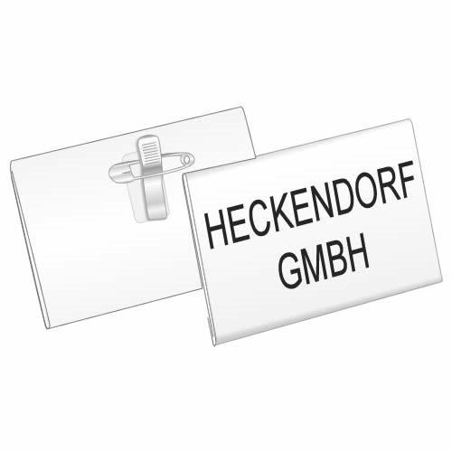 Namensschild mit Clip-Nadel-Kombination