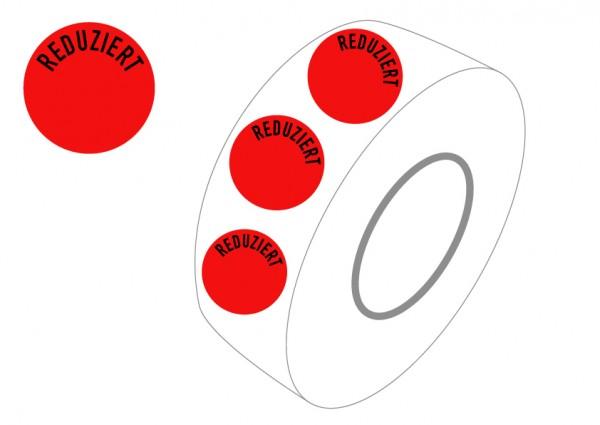 """Etiketten, rund, rot, selbstklebend, """"REDUZIERT"""""""