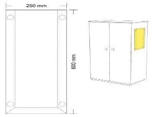 Hart-PVC Tasche 25 x 60 cm, Hochformat