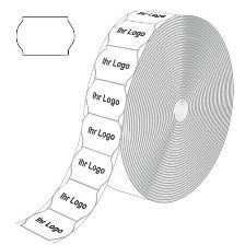 Etiketten für Contact, weiß, wellenförmig, mit Ihrem LOGO