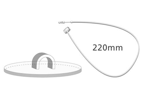 Klebehaken klar + Sicherheitsfaden, 220 mm